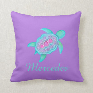 Purple aqua girls name turtle art cushion pillow