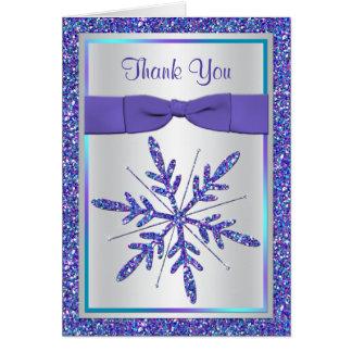 Purple Aqua Glitter Snowflake Photo Thank You Card Card