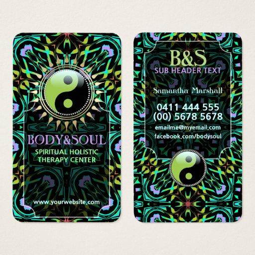 Purple Aqua Green Yin Yang Business Cards