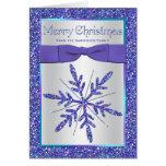 Purple Aqua Silver Snowflake Photo Christmas Card