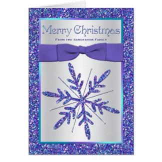 Purple Aqua Silver Snowflake Photo Christmas Card Greeting Cards