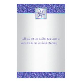 Purple Aqua Silver Snowflake Wedding Stationery