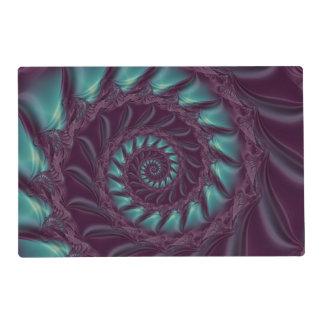 Purple & Aqua Spiral Fractal Placemat