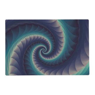 Purple & Aqua Spiral Fractal Placemat Laminated Place Mat