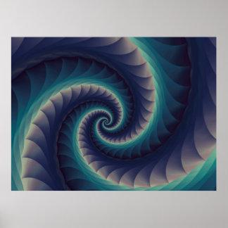 Purple & Aqua Spiral Fractal Poster