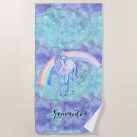 Purple Aqua Unicorn Dream Beach Towel