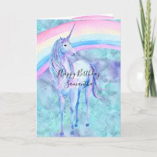 Purple Aqua Unicorn Dream Card