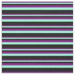 [ Thumbnail: Purple, Aquamarine & Black Colored Pattern Fabric ]