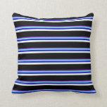 [ Thumbnail: Purple, Aquamarine, Blue, Mint Cream & Black Throw Pillow ]