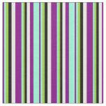 [ Thumbnail: Purple, Aquamarine, Green, Black, and Mint Cream Fabric ]