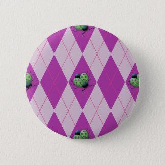 Purple Arglye Ladybug Pinback Button