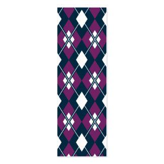 Purple Argyle Bookmark Mini Business Card