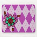 Purple Argyle & Flower Mouse Pads