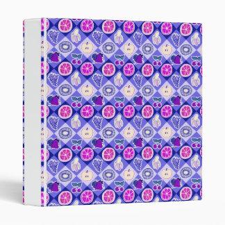 Purple Argyle Fruit Pattern 3 Ring Binder