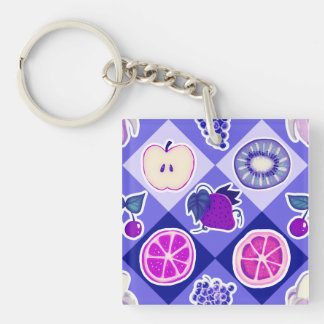 Purple Argyle Fruit Pattern Keychain