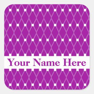 Purple Argyle Lattice with monogram Square Sticker