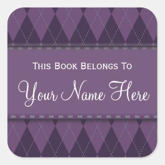 Purple Argyle Name Book Plate Sticker