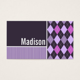 Purple Argyle Pattern Business Card
