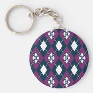 Purple Argyle Pattern Keychain