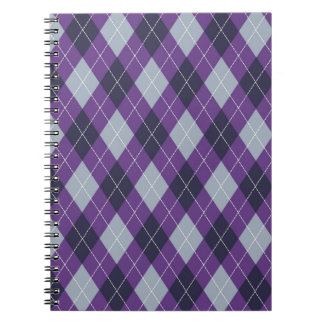 Purple argyle pattern notebook