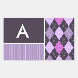Purple Argyle Pattern Rectangular Sticker