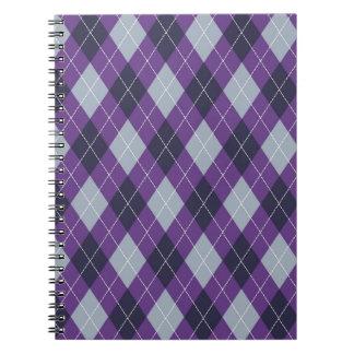 Purple argyle pattern spiral notebook