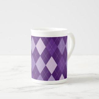 Purple argyle pattern tea cup