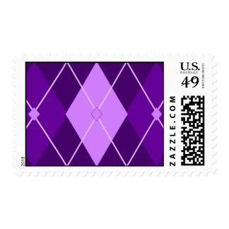 Purple Argyle Postage Stamp