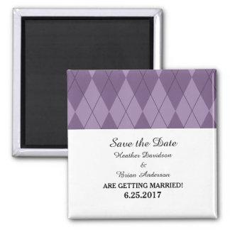 Purple Argyle Save the Date Magnet