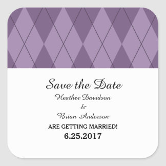 Purple Argyle Save the Date Stickers