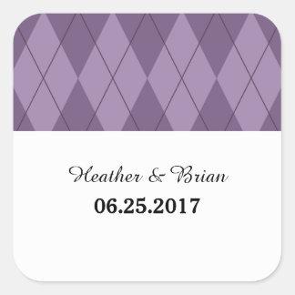 Purple Argyle Wedding Stickers