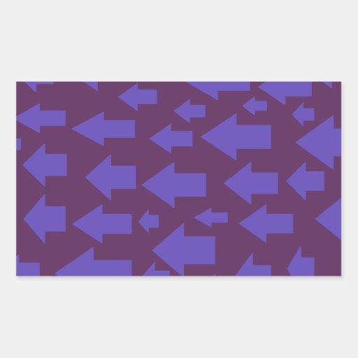 purple arrow design. rectangular sticker
