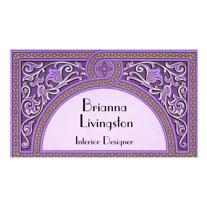 Purple Art Deco Interior Designer Business Card