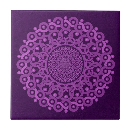 PURPLE Art Deco Mandala Tile