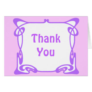 Purple Art Nouveau Border Stationery Note Card