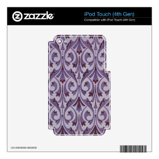 Purple Art Nouveau Swirls Decals For iPod Touch 4G