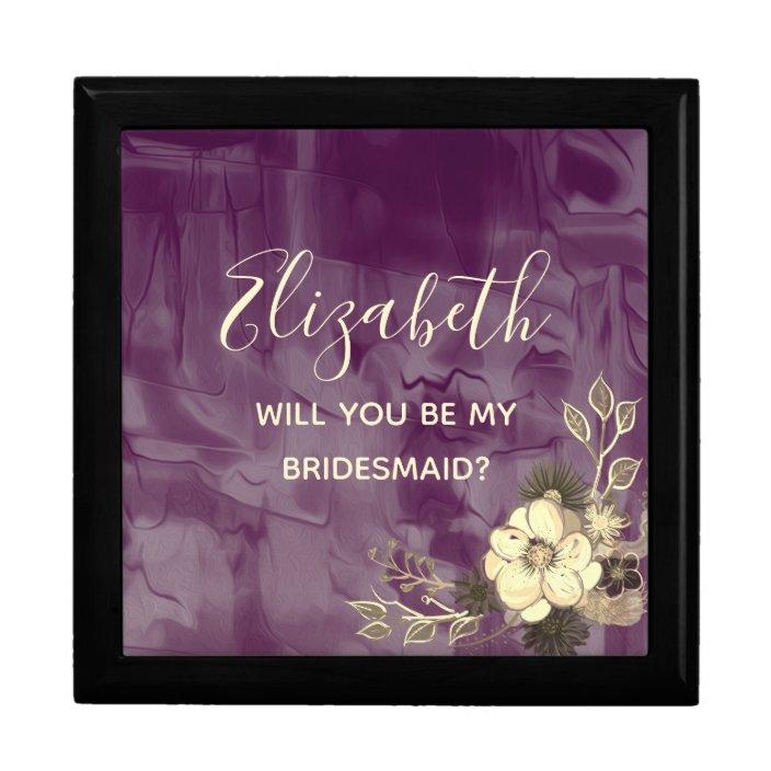 Purple Art Will You Be My Bridesmaid Proposal Box Zazzle Com