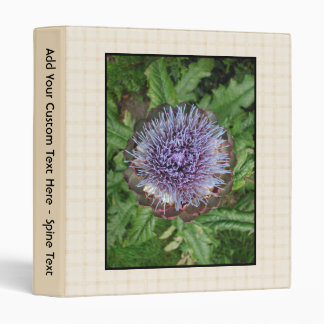 Purple Artichoke Flower. On beige check. Binder