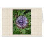 Purple Artichoke Flower. On beige check. Greeting Card