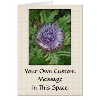 Purple Artichoke Flower. On beige check. Card