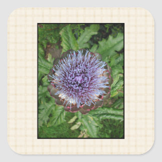 Purple Artichoke Flower. On beige check. Square Sticker