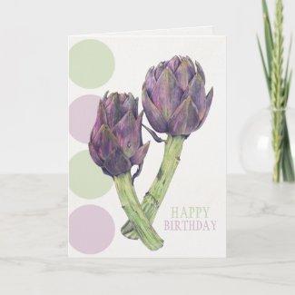 Purple Artichokes Birthday Card zazzle_card