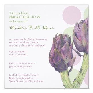 Purple Artichokes dots Bridal Luncheon Invitation