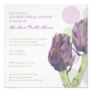 """Purple Artichokes dots Bridal Shower Invitation 5.25"""" Square Invitation Card"""