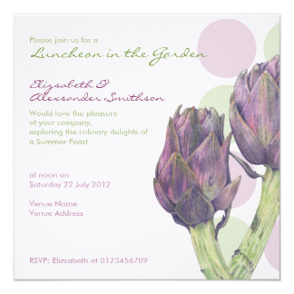Purple Artichokes dots Luncheon Invitation