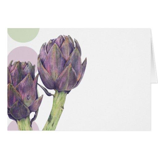 Purple Artichokes dots Menu Place Card