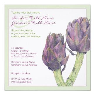 Purple Artichokes green Wedding Invitation