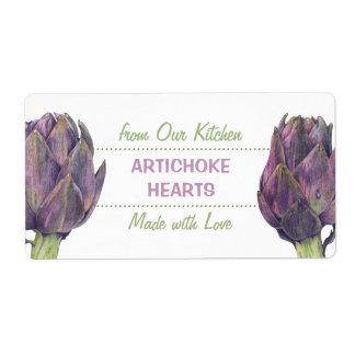 Purple Artichokes Kitchen Preserves Label