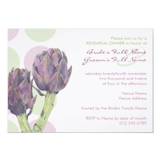Purple Artichokes Rehearsal Dinner Invitation