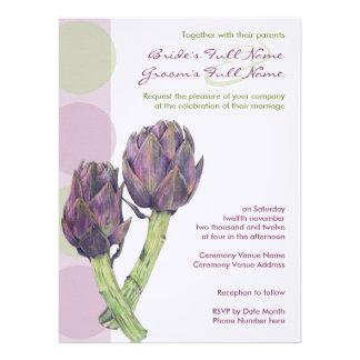 Purple Artichokes Wedding Invitation 1